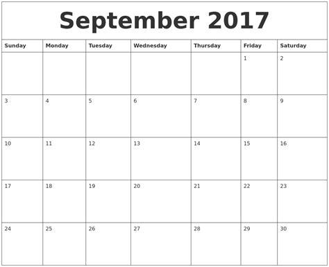 Calendar Of September September 2017 Calendar