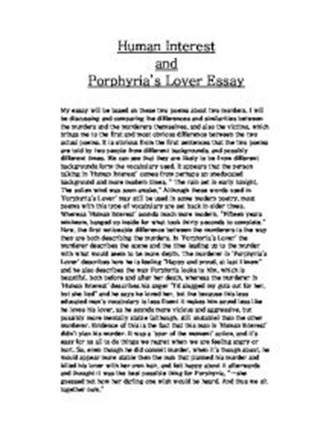 Porphyrias Lover Essay Structure by Human Interest And Porphyria S Lover Essay Gcse Marked By Teachers