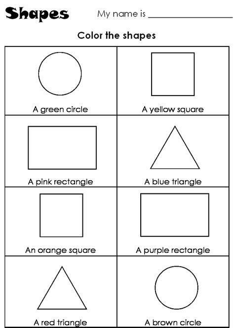 shapes worksheets for kindergarten color by shape worksheet kindergarten loving printable