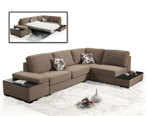 living room l shaped brown fabric sectional sleeper sofa