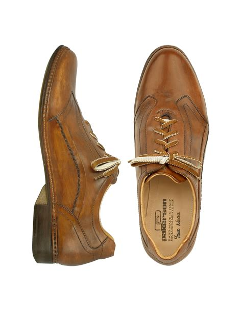Italian Handmade - pakerson brown italian handmade leather lace up shoes in