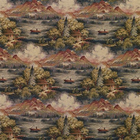 Cabin Upholstery Fabric by Beige Blue And Green Lodge Cabin Or Woods Lake And