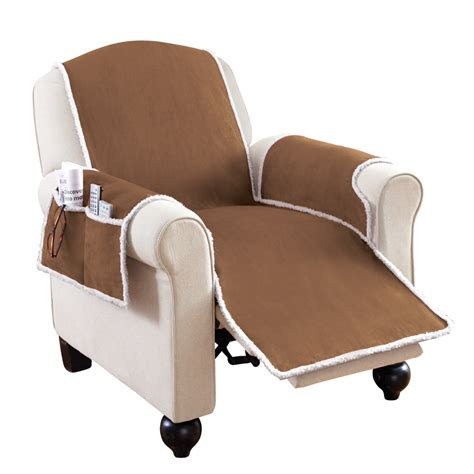 Covers With Recliners by Faux Suede Shearling Recliner Covers With Pockets By