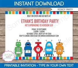 robot invitations template birthday