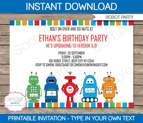 Printable Robot Stationery | robot party invitations template birthday party