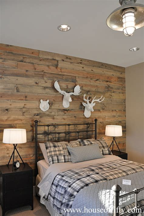 wood wall bedroom salvaged wood accent wall mirrored headboard design ideas
