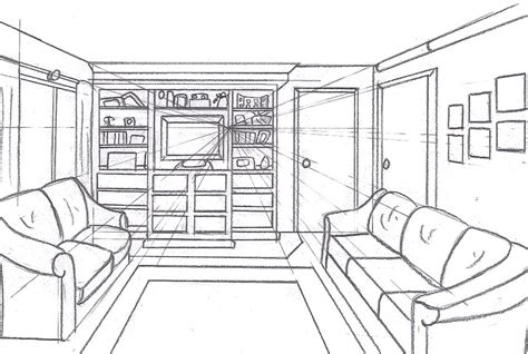 one point perspective room 1 pt room study by saronicle on deviantart