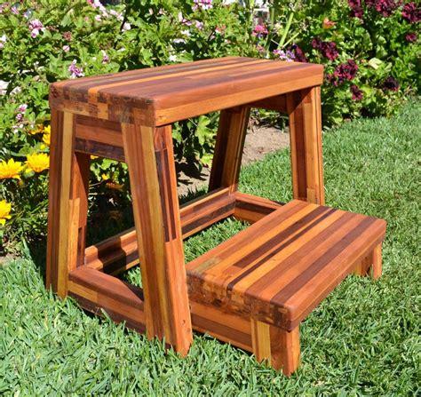 Custom Step Stool by Folding Two Step Wood Stool Custom Wood Finish Height