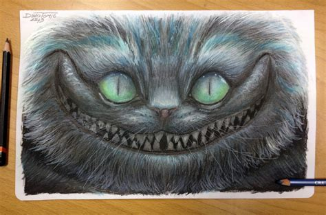 color pencil drawing of cheshire by atomiccircus on deviantart