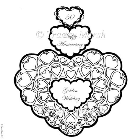 coloring pages for wedding anniversary 50th golden wedding anniversary digital st