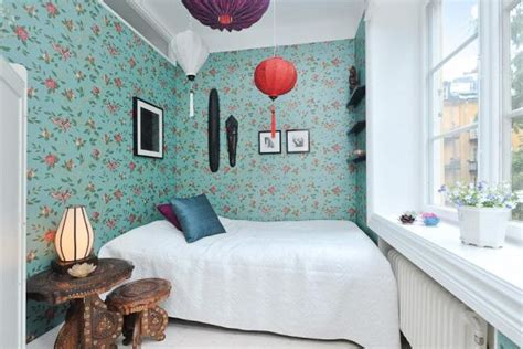 wallpaper for small bedrooms charming 37 square meter flat with floral wallpaper