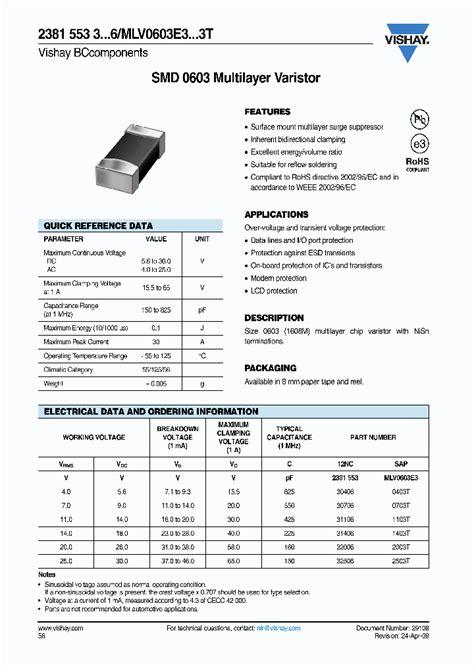 voltage dependent resistor datasheet mlv0603e30703t 8063931 pdf datasheet ic on line