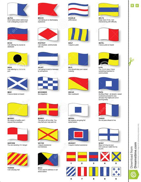 boat communication flags maritime signal flags with phonetic alphabet stock vector