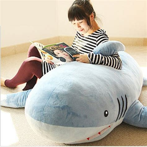 huge stuffed plush shark sofa cushion throw pillow