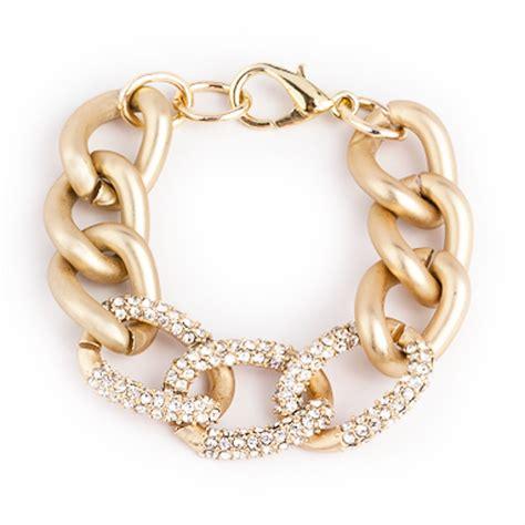 gold pave chain link bracelet derng