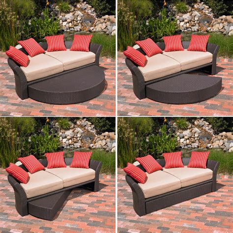 Daybed Patio Furniture Mission Corinth Daybed Sunbrella Outdoor Patio Brown Wicker Rattan