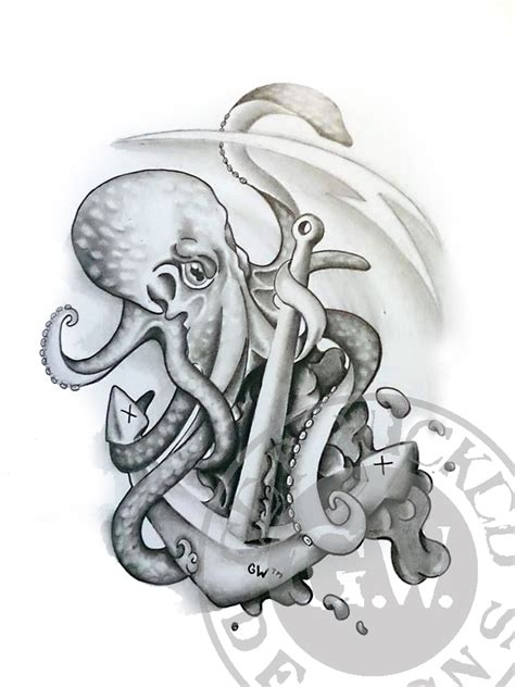 octopus tattoo design b w by get wicked designs