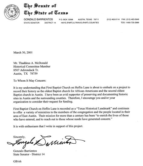 Letter Of Credit Jurisdiction Letter From State Senator Gonzalo Barrientos Sequence 1 The Portal To History