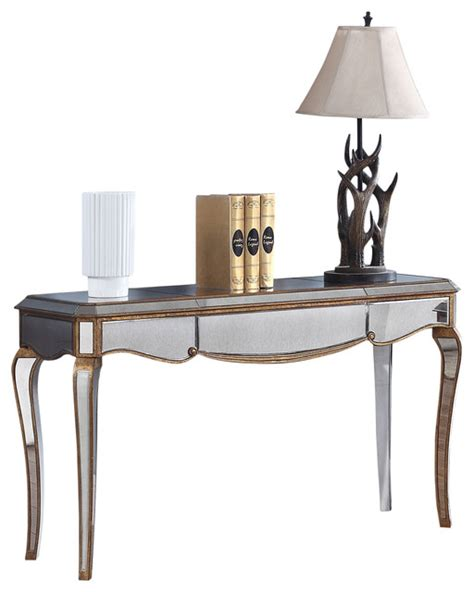 contemporary mirrored sofa table gold trimmings