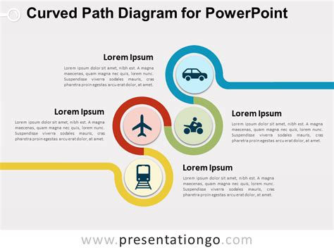 Curved Path Diagram For Powerpoint Presentationgo Com Powerpoint Workflow Diagram Template