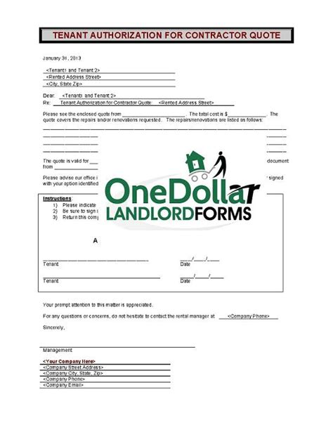 authorization letter of tenant c11 tenant authorization for contractor quote