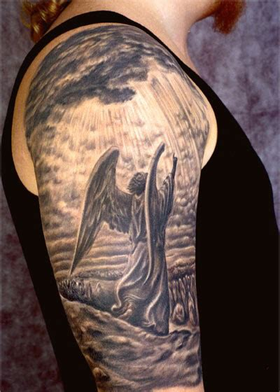 angel tattoo in arm 26 angel sleeve tattoos ideas