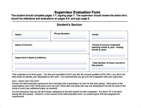 supervisor evaluation samples   format