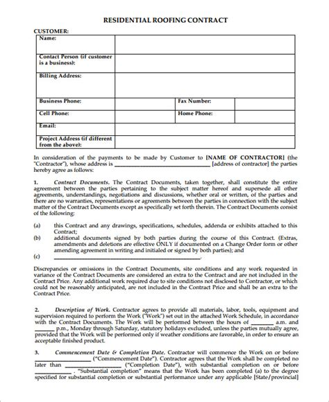 7 roofing contract templates free pdf format download