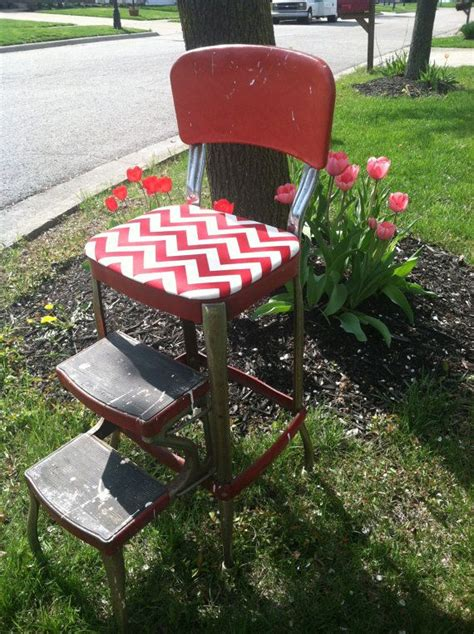 Metal Step Stool With Seat by Vintage Upcycled Cosco Metal Step Stool With Chevron