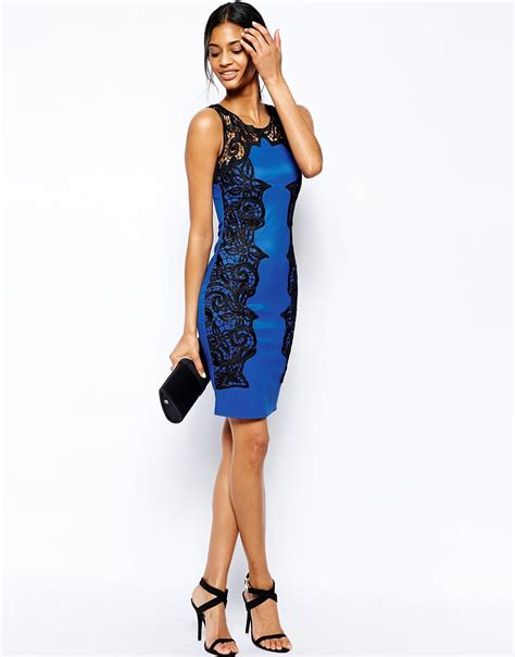 01032b Silhoutte Ii Blue lipsy bodycon dress with lace silhouette in blue lyst