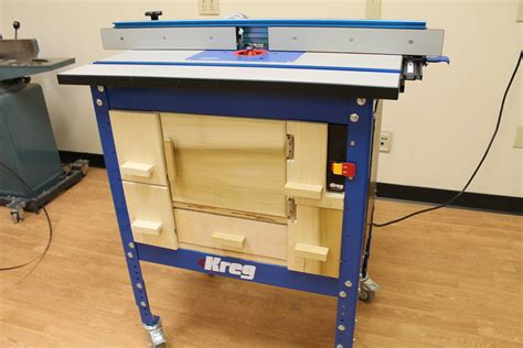 kreg router table cabinet kreg router table on steroids by carterr lumberjocks