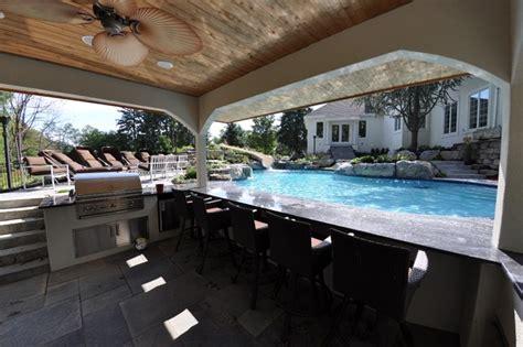 custom free form pool with swim up bar