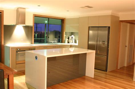 modern kitchen island bench waterfall countertops a trend