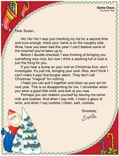 printable santa naughty letter funny santa letters children s correspondence to and