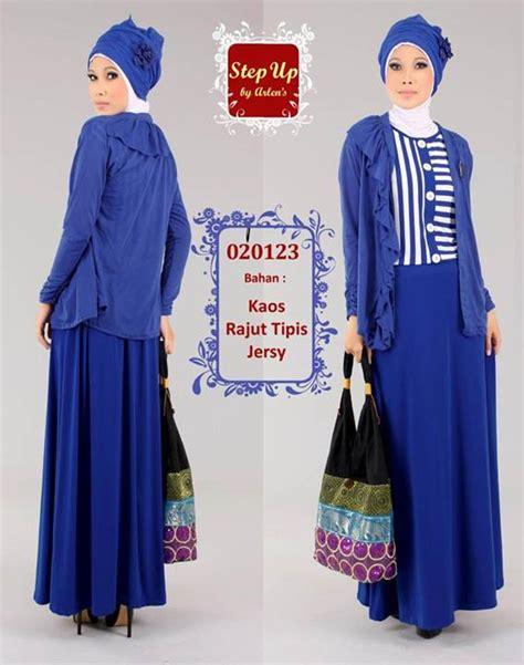step up leila biru baju muslim gamis modern