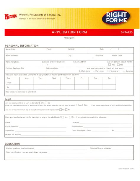 printable job applications wendy s wendy s restaurants of canada job application form free
