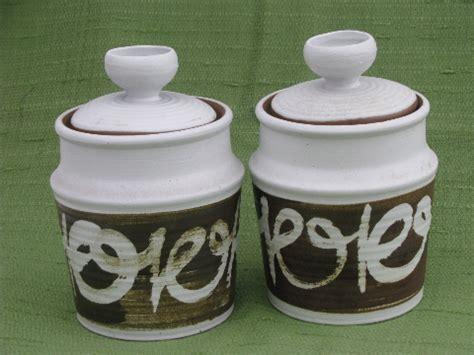 retro 70s vintage stoneware pottery canister jars kitchen