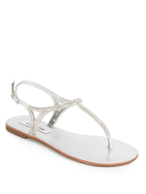 Steve Madden Rhinestone Sandals by Lyst Steve Madden Rhinestone Sandals In Metallic