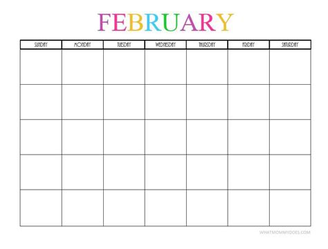 Blank Calendar Template February 2018