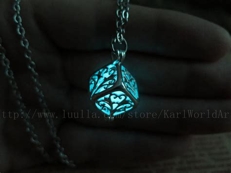 Glowing Necklace free shipping cyan cube glow in the necklace glow