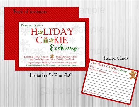 Does Amazon Exchange Gift Cards - cookie exchange printable invitation with recipe card personalized holiday