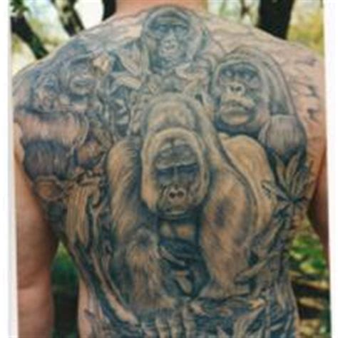 big tattoo planet black and grey animal gorilla big