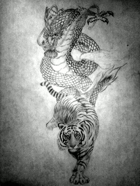 tiger dragon tattoo and tiger by unbrokenshadow on deviantart