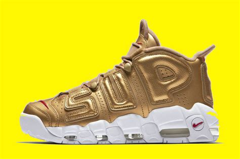 Nike Air More Up Tempo Gold White 2017 supreme x nike air more uptempo metallic gold white