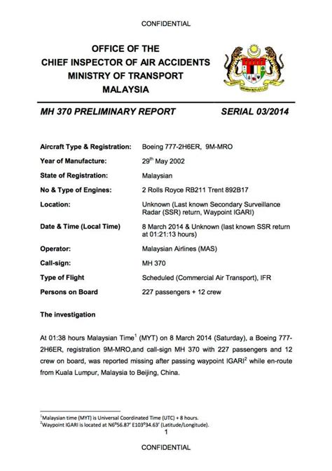 Preliminary Section In Report Writing by Malaysia Government Issues Its Preliminary Report On Malaysia Airlines Flight Mh 370 World