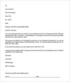 employment offer template offer letter templates sles and templates