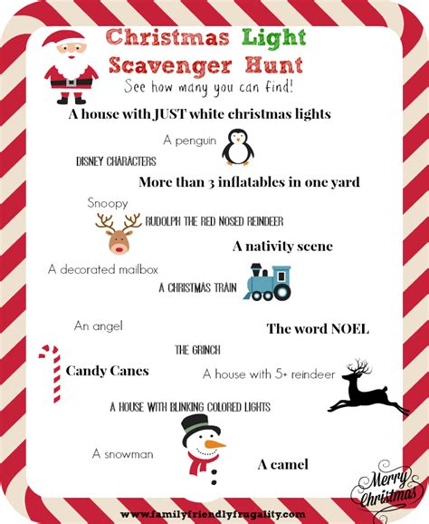 christmas light scavenger hunt free printable
