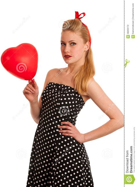cute maturity woman pin up hair styles cute pin up style fashion model in retro dress stock image