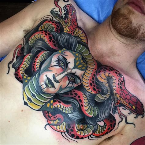 medusa chest tattoo colorful medusa chest best design ideas