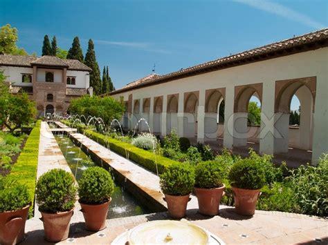 Spain Gardens by Gardens Of Alhambra Granada Spain Stock Photo Colourbox